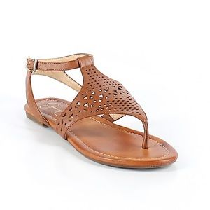 Jessica Simpson tan perforated thong sandals